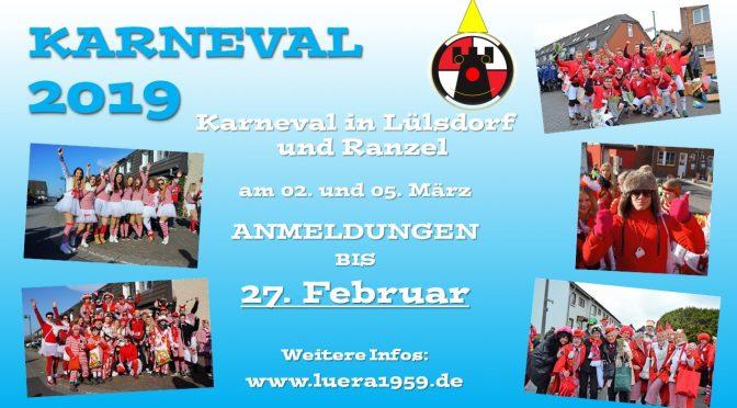Teilnahme an den Karnevalszügen in Lülsdorf und Ranzel 2019!