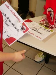 1. LüRa-Fußballcamp Urkunde